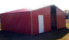 Metal horse barn with tack room