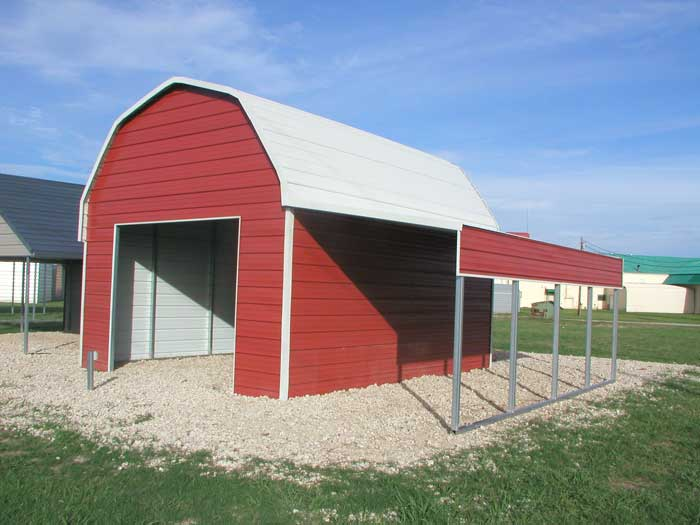 Nice Metal Garage With Lean To Carport